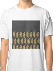 Pretty and Swanky Faux Gold Leaves on Black Classic T-Shirt