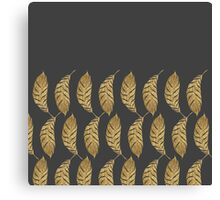 Pretty and Swanky Faux Gold Leaves on Black Canvas Print