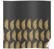 Pretty and Swanky Faux Gold Leaves on Black Poster