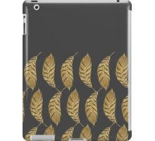 Pretty and Swanky Faux Gold Leaves on Black iPad Case/Skin