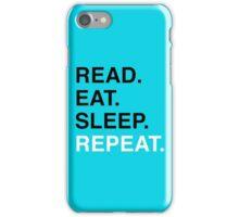 Read. Eat. Sleep. Repeat. (Blue) iPhone Case/Skin
