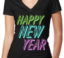 Happy New Year Women's Fitted V-Neck T-Shirt