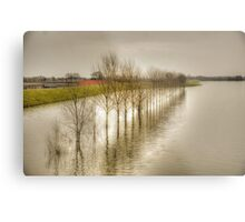 flooded river covers roads Metal Print