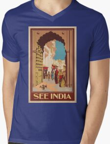 Vintage poster - India Mens V-Neck T-Shirt