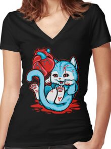 Cat Got Your Heart? Women's Fitted V-Neck T-Shirt