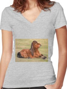 Shetland Pony in the New Forest Women's Fitted V-Neck T-Shirt