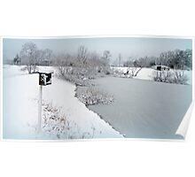 Snowy pond Poster