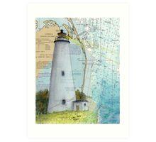 Ocracoke Lighthouse NC Map Chart Peek Outer Banks Art Print