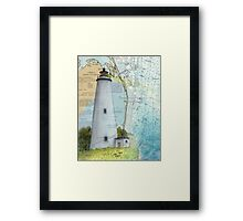 Ocracoke Lighthouse NC Map Chart Peek Outer Banks Framed Print
