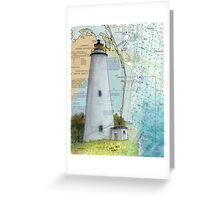 Ocracoke Lighthouse NC Map Chart Peek Outer Banks Greeting Card