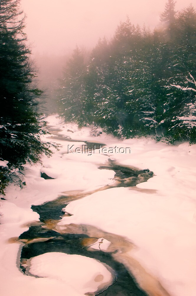 Winter Snowy Water Scene by KellyHeaton