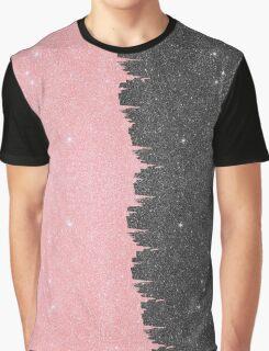 Pretty Girly Pink & Black Faux Glitter Brushstroke Graphic T-Shirt