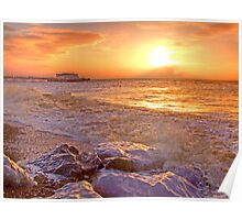 Worthing Beach Sunrise 2 - Boxing Day 2012 - HDR Poster