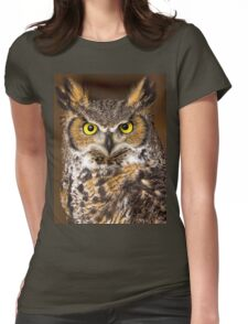 Canadian Horned Owl Womens Fitted T-Shirt