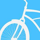 Silhouette of vintage bicycle in blue background by mikath