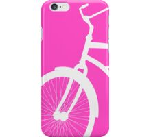 Silhouette of vintage bicycle in pink background iPhone Case/Skin