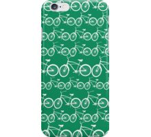 Pattern of bicycles in green space iPhone Case/Skin