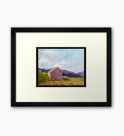 Grey Barn Framed Print