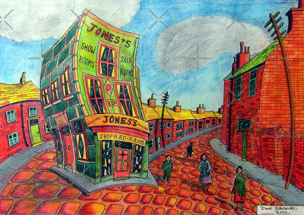 373 - JONES'S SHOP, RHOSLLANERCHRUGOG - DAVE EDWARDS - COLOURED PENCILS - 2012 by BLYTHART