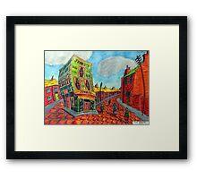 373 - JONES'S SHOP, RHOSLLANERCHRUGOG - DAVE EDWARDS - COLOURED PENCILS - 2012 Framed Print