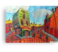 373 - JONES'S SHOP, RHOSLLANERCHRUGOG - DAVE EDWARDS - COLOURED PENCILS - 2012 Canvas Print