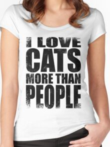 I Love Cats More Than People - BLACK Women's Fitted Scoop T-Shirt