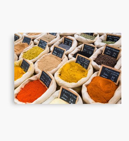 Variety of spices Canvas Print
