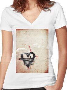 a broken heart lasts forever Women's Fitted V-Neck T-Shirt