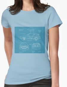 BTTF DELOREAN DRAWINGS Womens Fitted T-Shirt