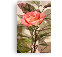 Real Rose And Not So Real Leaves Canvas Print
