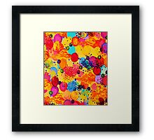 TIME FOR BUBBLY 2 - Fun Fiery Orange Red Whimsical Bubbles Bright Colorful Abstract Acrylic Painting Framed Print