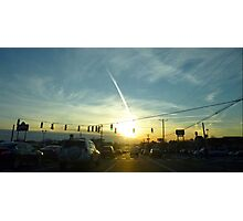 Rush Hour into a Winters Sunset Photographic Print