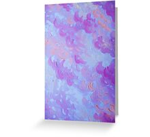 PURPLE PLUMES - Soft Pastel Wispy Lavender Clouds Lilac Plum Periwinkle Abstract Acrylic Painting  Greeting Card