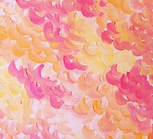 PINK PLUMES - Soft Pastel Wispy Pretty Peach Melon Clouds Strawberry Pink Abstract Acrylic Painting  by EbiEmporium