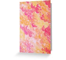 PINK PLUMES - Soft Pastel Wispy Pretty Peach Melon Clouds Strawberry Pink Abstract Acrylic Painting  Greeting Card