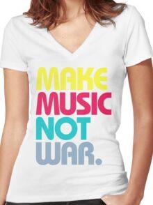 Make Music Not War (Venerable) Women's Fitted V-Neck T-Shirt