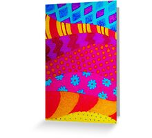 THE HIPSTER - Cool Colorful Vibrant Abstract Mixed Media Trendy Fabric Patterns Illustration Greeting Card