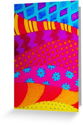 THE HIPSTER - Cool Colorful Vibrant Abstract Mixed Media Trendy Fabric Patterns Illustration by EbiEmporium