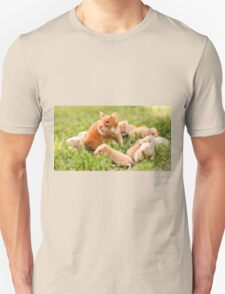 Golden hamster with her young litter on the lawn Unisex T-Shirt