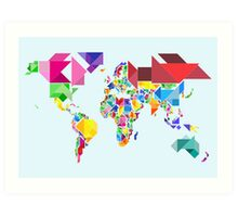 Tangram Abstract World Map Art Print