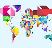 Tangram Abstract World Map by ArtPrints