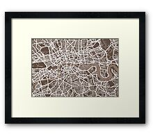 London Map Coffee Brown Framed Print
