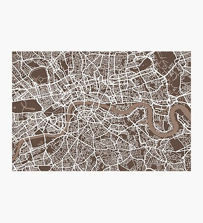 London Map Coffee Brown Photographic Print