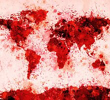 World Map Paint Splashes Red by Michael Tompsett