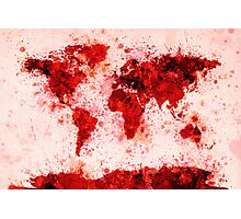World Map Paint Splashes Red Photographic Print