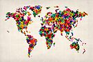 Love Hearts Map of the World Map by Michael Tompsett