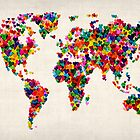 Love Hearts Map of the World Map by ArtPrints