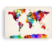 Map of the World Map Abstract Painting Canvas Print