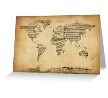 Map of the World Map from Old Sheet Music Greeting Card
