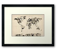 Map of the World Map from Old Clocks Framed Print